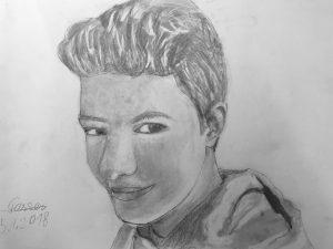 Selbstportrait Junge, Zeichnung