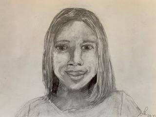 Selbstportrait Lisa Bleistiftzeichnung