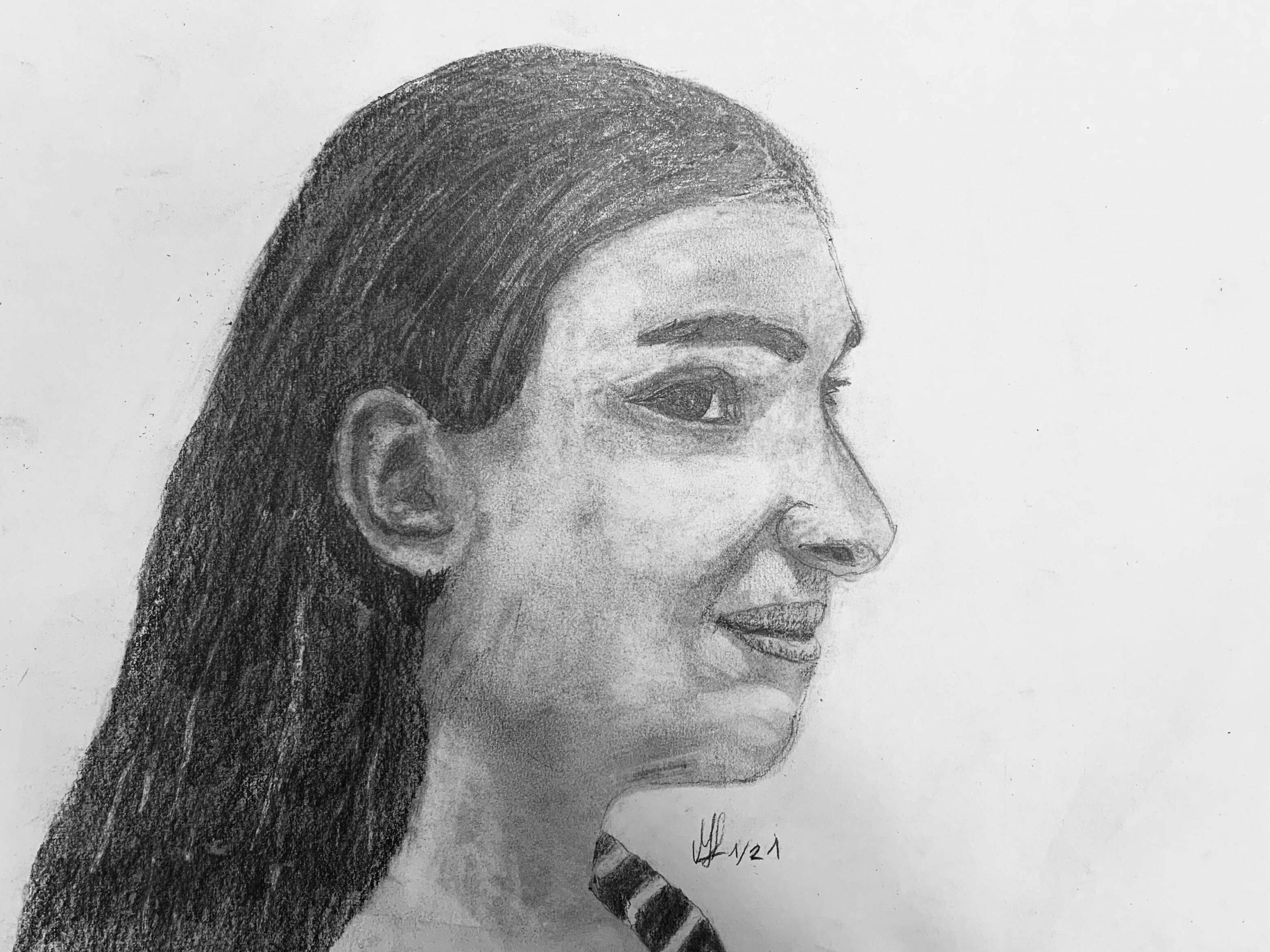 Bleistiftzeichnung_Mädchen_Mona_1