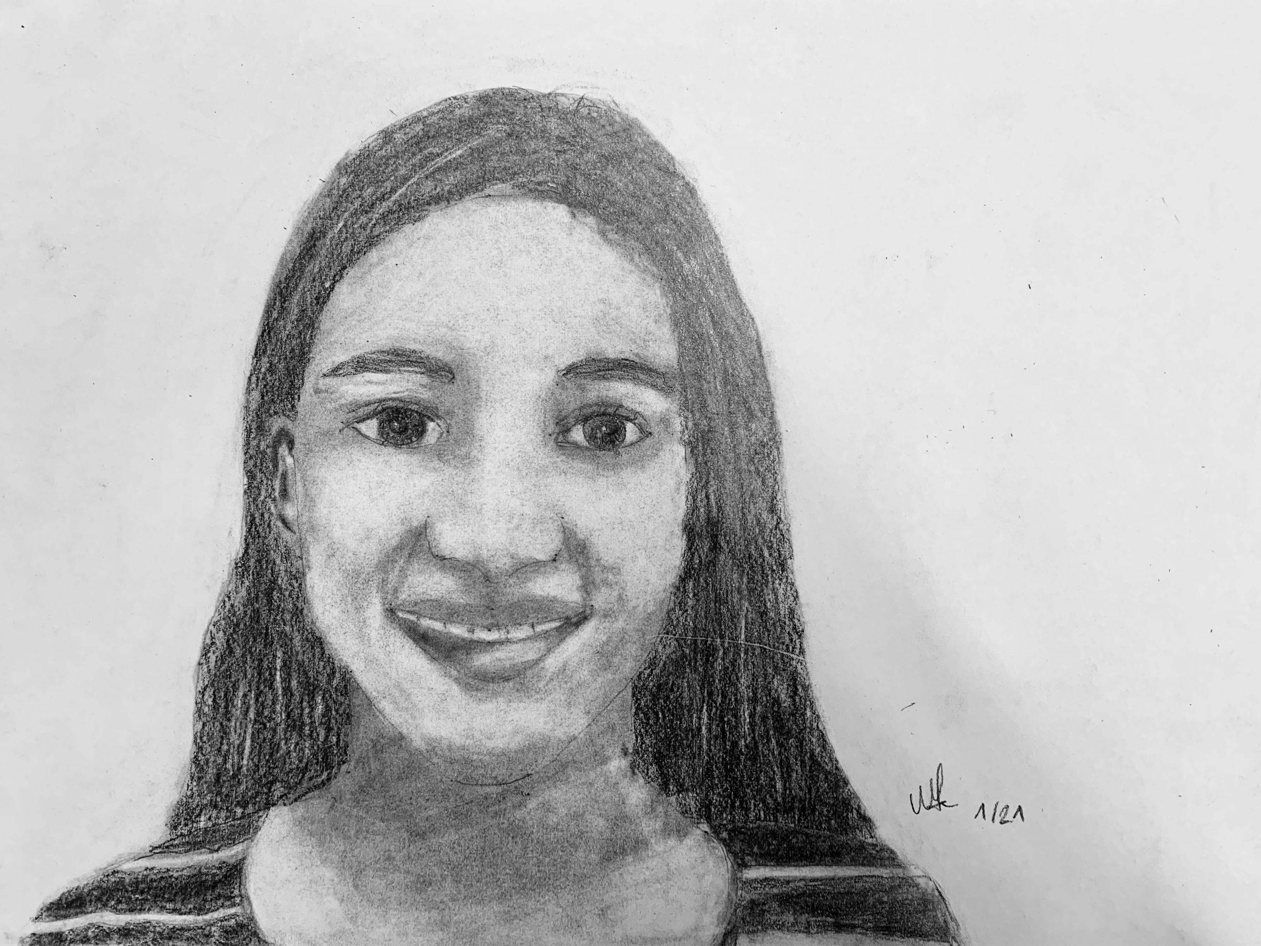 Selbstportrait Mona, Bleistiftzeichnung, 14 Jahre