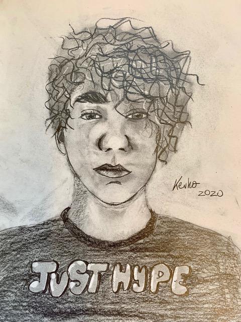 Kevin, 14 Jahre, Bleistiftzeichnung, Selbstportrait, DinA4 Format