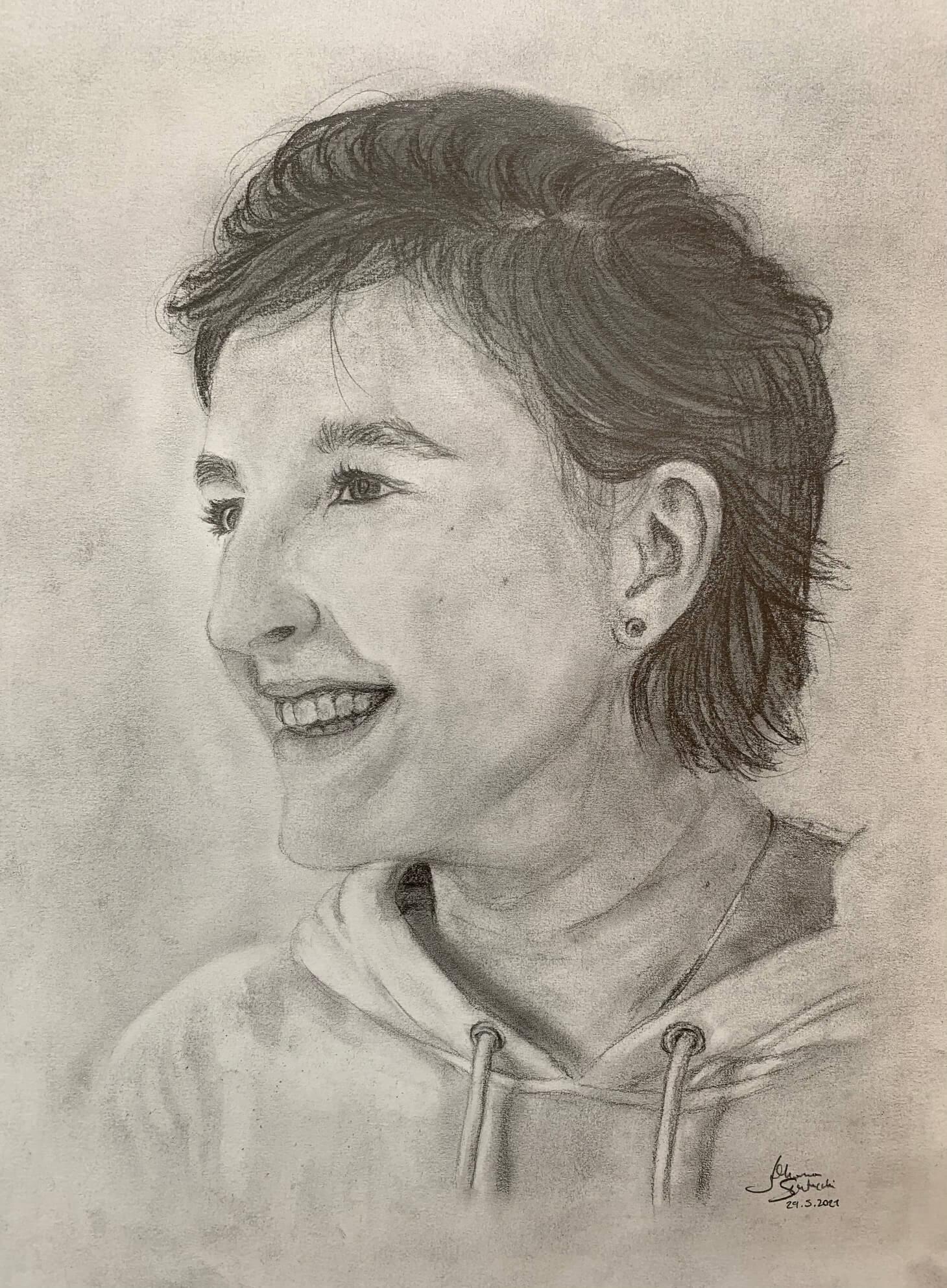 Seitenportrait Johanna, 20 Jahre